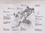 Plan zamku w Ojcowie - obecnie została tylko wieża, brama, studnia.